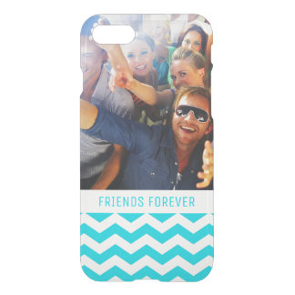 Custom Photo & Text White and Aqua Zig Zag Pattern iPhone 8/7 Case