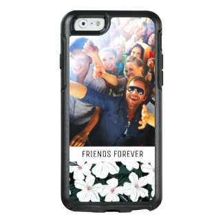 Custom Photo & Text White Tropical Flowers Pattern OtterBox iPhone 6/6s Case