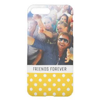 Custom Photo & Text Yellow with white polka dots iPhone 8 Plus/7 Plus Case