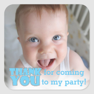 custom photo thank you for coming to my party square sticker