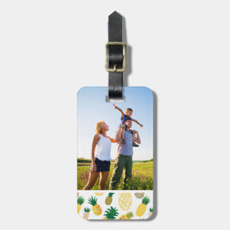 Custom Photo Trendy Pineapple Pattern Luggage Tag