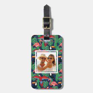 Custom Photo Tropical Birds In Bright Colors Luggage Tag
