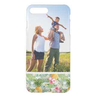 Custom Photo Tropical Flowers & Pineapple Stripes iPhone 8 Plus/7 Plus Case