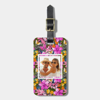Custom Photo Tropical leaves and flowers Luggage Tag