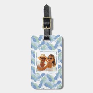 Custom Photo Tropical Pastel Pineapple Pattern Luggage Tag