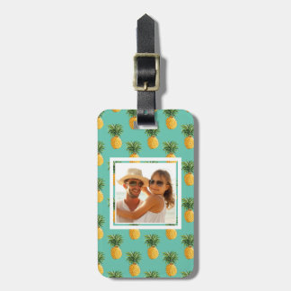 Custom Photo Tropical Pineapples On Teal Luggage Tag
