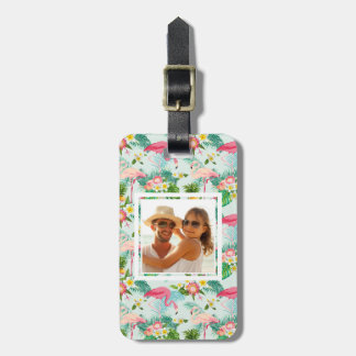 Custom Photo Vintage Tropical Flowers And Birds Luggage Tag
