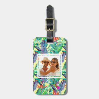 Custom Photo Watercolor Humminbirds In The Jungle Luggage Tag