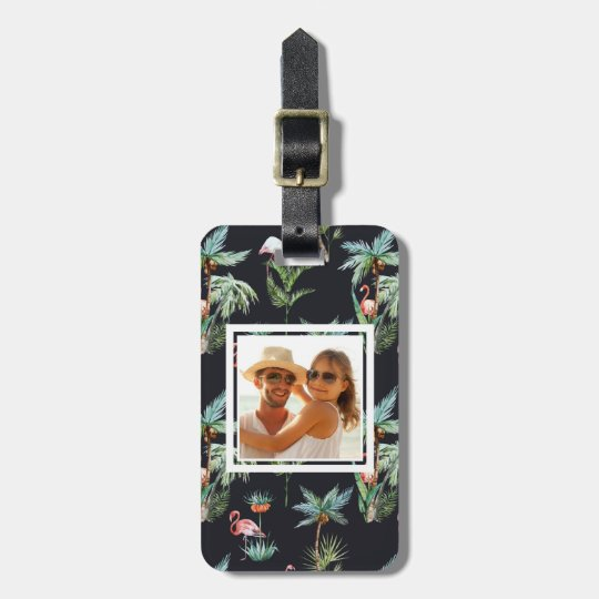 Custom Photo Watercolor Palm Pattern Luggage Tag