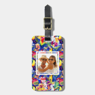 Custom Photo Watercolor Parrots Luggage Tag