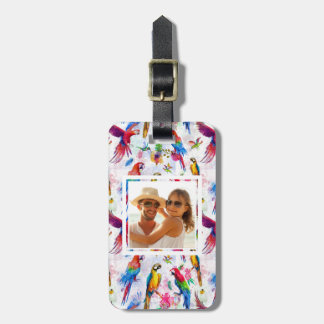 Custom Photo Watercolor Style Parrots Luggage Tag