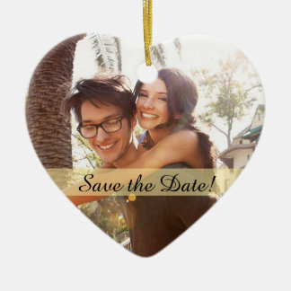 Custom Photo Wedding Save the Date Christmas Ornament