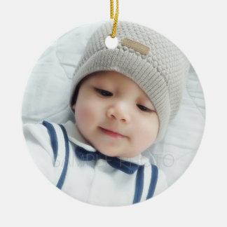 Custom Photo with Monogram Christmas Ornament