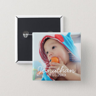Custom Photo with Name and Date 15 Cm Square Badge
