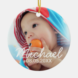 Custom Photo with Name and Date Christmas Ornament