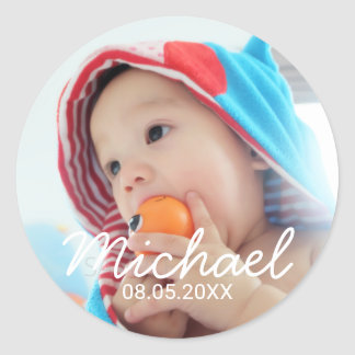 Custom Photo with Name and Date Classic Round Sticker