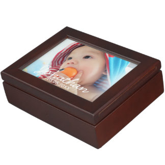 Custom Photo with Name and Date Keepsake Box