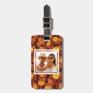 Custom Photo with pumpkins and autumn maple Bag Tag