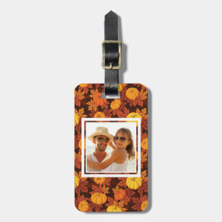 Custom Photo with pumpkins and autumn maple Luggage Tag