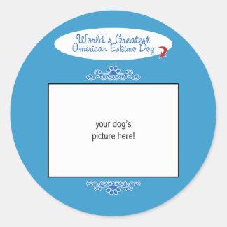 Custom Photo Worlds Greatest American Eskimo Dog Round Sticker