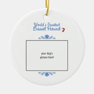 Custom Photo! Worlds Greatest Basset Hound Christmas Ornament