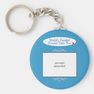 Custom Photo! Worlds Greatest Bearded Collie Mix Basic Round Button Key Ring