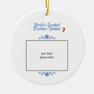 Custom Photo! Worlds Greatest Bichon-Yorkie Christmas Ornament