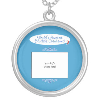 Custom Photo! Worlds Greatest Bluetick Coonhound Silver Plated Necklace
