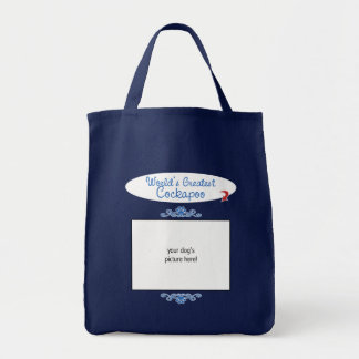 Custom Photo! Worlds Greatest Cockapoo Grocery Tote Bag