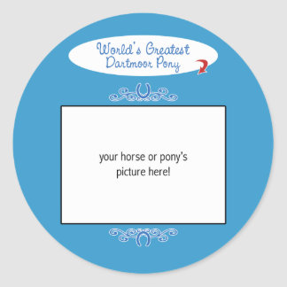 Custom Photo! Worlds Greatest Dartmoor Pony Round Sticker
