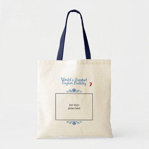 Custom Photo! Worlds Greatest English Bulldog Canvas Bags