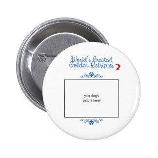 Custom Photo! Worlds Greatest Golden Retriever 6 Cm Round Badge
