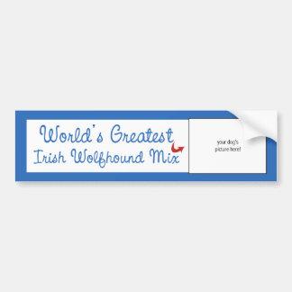 Custom Photo! Worlds Greatest Irish Wolfhound Mix Bumper Sticker