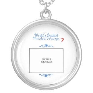 Custom Photo! Worlds Greatest Miniature Schnauzer Silver Plated Necklace