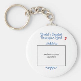 Custom Photo! Worlds Greatest Norwegian Fjord Basic Round Button Key Ring