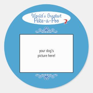 Custom Photo! Worlds Greatest Peke-a-Poo Round Stickers