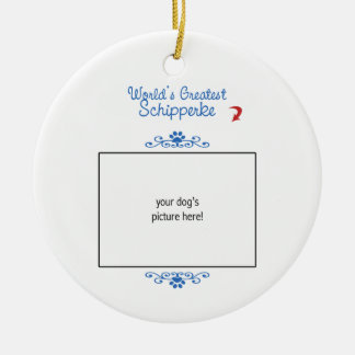 Custom Photo! Worlds Greatest Schipperke Christmas Ornament