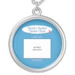 Custom Photo! Worlds Greatest Yorkie-Apso Round Pendant Necklace