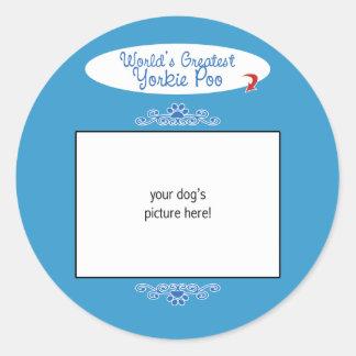 Custom Photo! Worlds Greatest Yorkie Poo Round Stickers