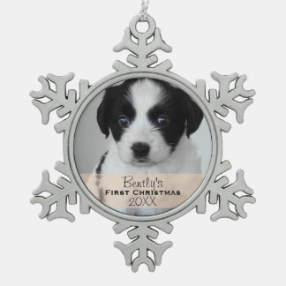 Custom Photo Year Puppy's First Christmas Snowflake Pewter Christmas Ornament