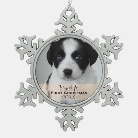 Custom Photo Year Puppy's First Christmas Snowflake Pewter