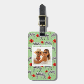 Custom Photo Zebras Among Hibiscus Flowers Luggage Tag