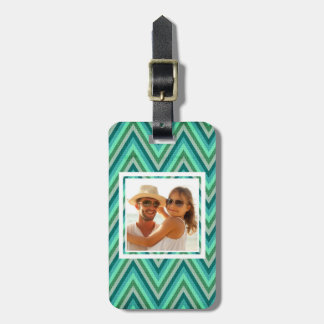 Custom Photo Zig Zag Striped Background Luggage Tag