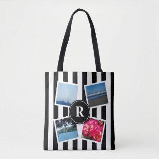 Custom photos and black stripes monogram design tote bag