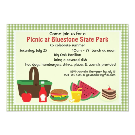 Custom Picnic at the Park Card