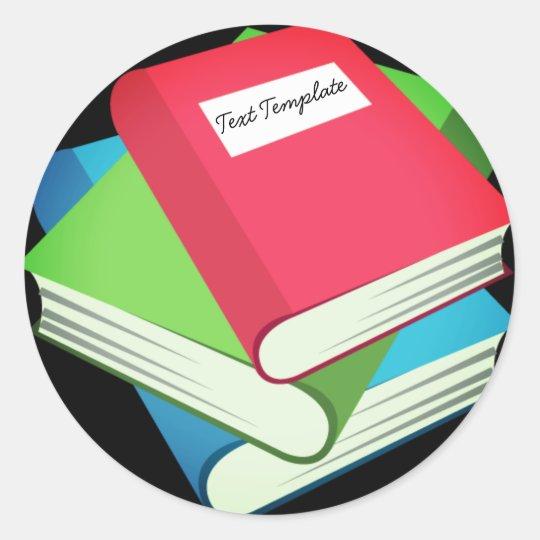 Custom Pile Of Books Emoji Classic Round Sticker