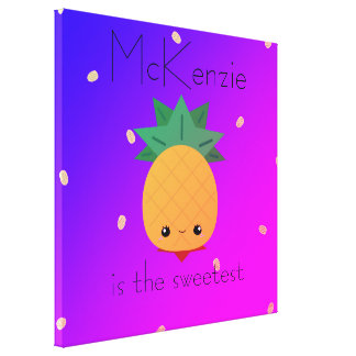 Custom pineapple colorful fruit wrapped canvas
