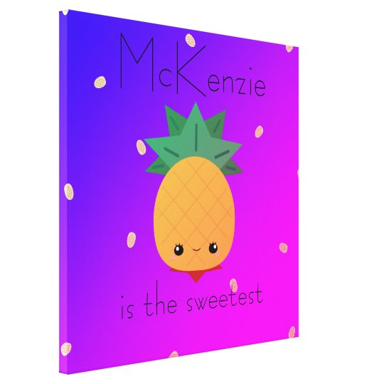 Custom pineapple colourful fruit wrapped canvas