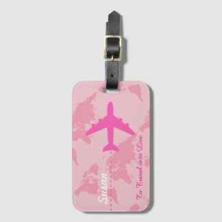 custom pink airplane travel girly luggage tag