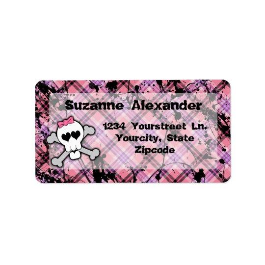 Custom Pink and Black Skull w Crossbones Label Address Label